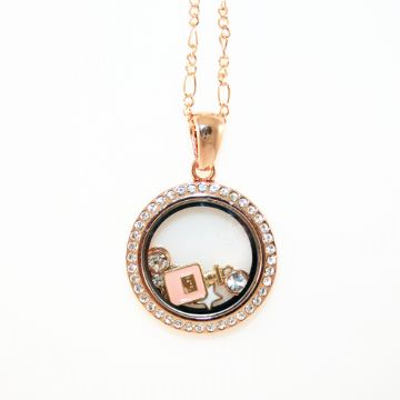 34mm living memory floating charm locket - champagne gold with rhinestone